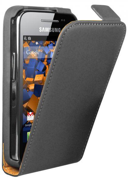 Flip Case Ledertasche schwarz für Samsung Galaxy Ace