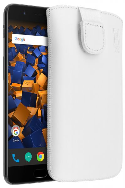 Leder Etui Tasche mit Ausziehlasche weiß für OnePlus 5