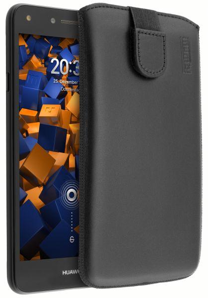 Leder Etui Tasche mit Ausziehlasche schwarz für Huawei Y5 II