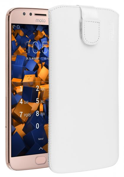 Leder Etui Tasche mit Ausziehlasche weiß für Motorola Moto G5S Plus