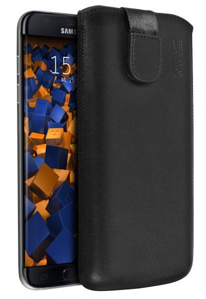 Leder Etui Tasche mit Ausziehlasche schwarz für Samsung Galaxy S7 Edge