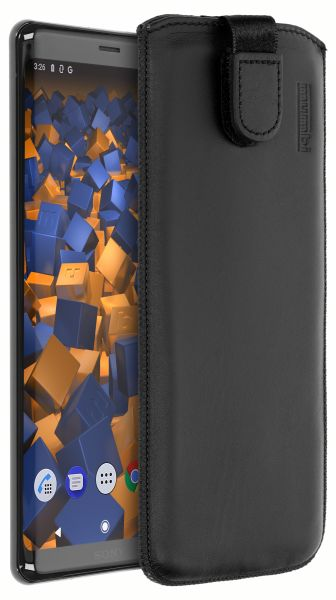 Leder Etui Tasche mit Ausziehlasche schwarz für Sony Xperia XZ3