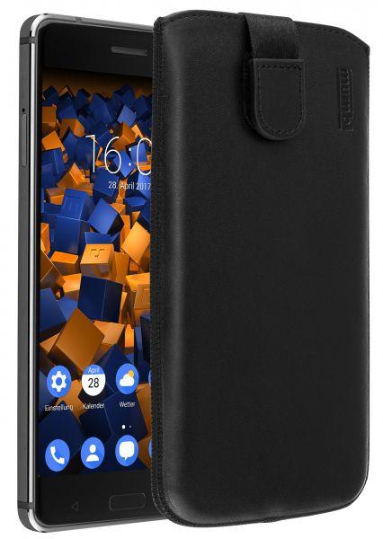 Leder Etui Tasche mit Ausziehlasche schwarz für Nokia 6 (2017)
