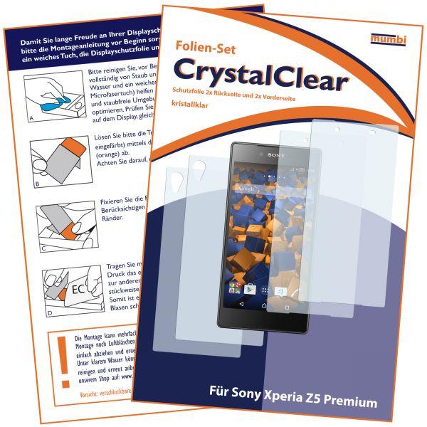 Displayschutzfolie 4 Stck. CrystalClear für Sony Xperia Z5 Premium (2 x vorne und 2 x hinten)
