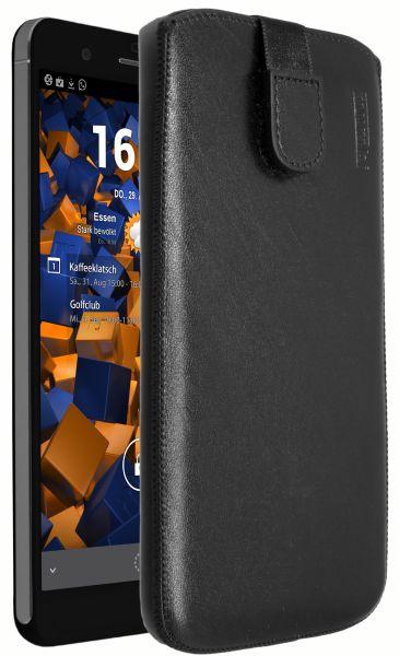 Leder Etui Tasche mit Ausziehlasche schwarz für Huawei Honor 6 Plus
