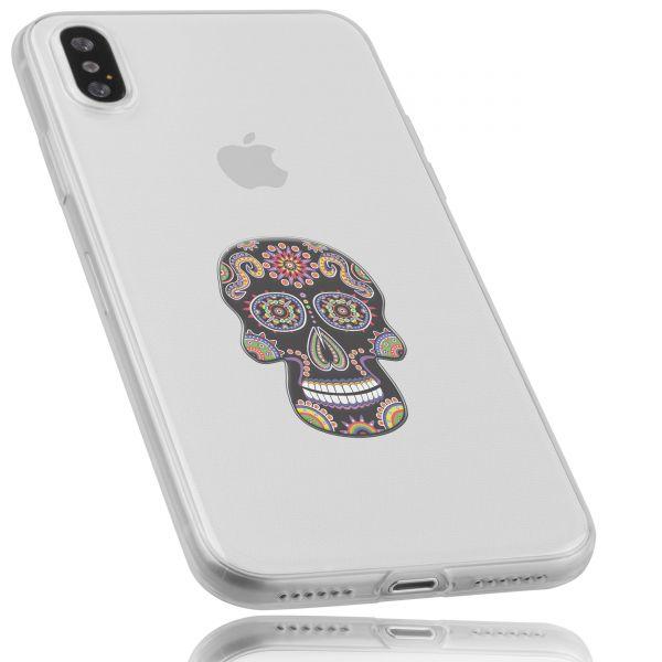 TPU Hülle Ultra Slim transparent Motiv Calavera schwarz für Apple iPhone XS / X