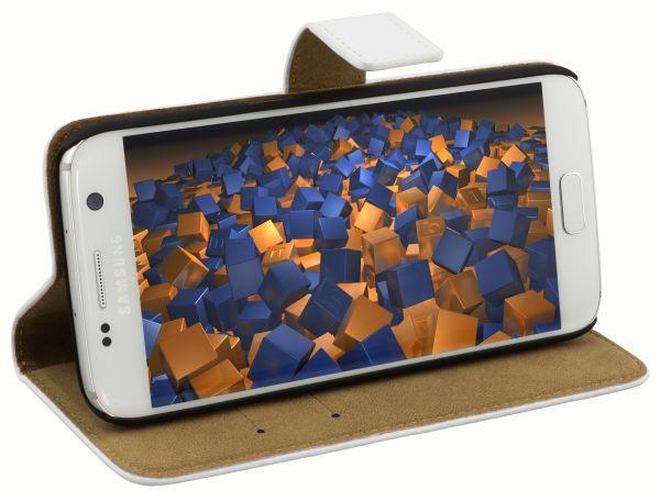 Bookstyle Ledertasche weiß für Samsung Galaxy S7