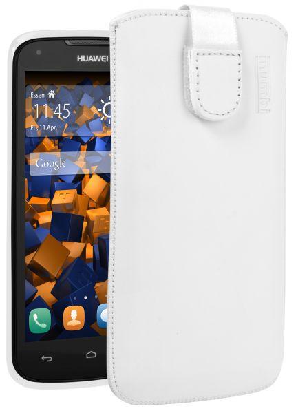Leder Etui Tasche mit Ausziehlasche weiß für Huawei Ascend Y520 / Y540
