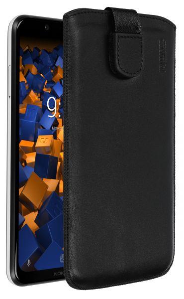 Leder Etui Tasche mit Ausziehlasche schwarz für Nokia 8.1