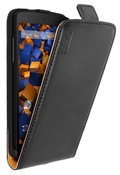 Flip Case Ledertasche schwarz für LG Google Nexus 5