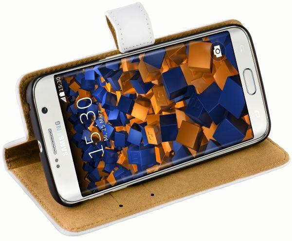 Bookstyle Ledertasche weiß für Samsung Galaxy S6 Edge