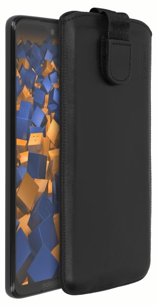 Leder Etui Tasche mit Ausziehlasche schwarz für Motorola Moto G7