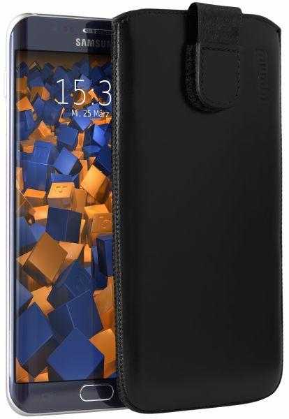 Leder Etui Tasche mit Ausziehlasche schwarz für Samsung Galaxy S6 Edge Plus