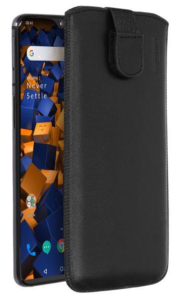 Leder Etui Tasche mit Ausziehlasche schwarz für OnePlus 7