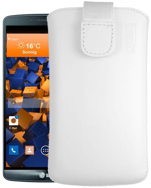 Leder Etui Tasche mit Ausziehlasche weiß für LG G3