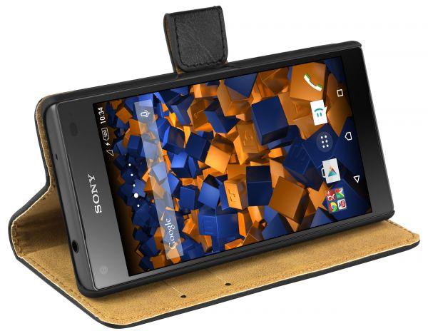 Bookstyle Ledertasche schwarz für Sony Xperia Z5 Compact