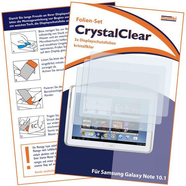 Displayschutzfolie 3 Stck. CrystalClear für Samsung Galaxy Note 10.1