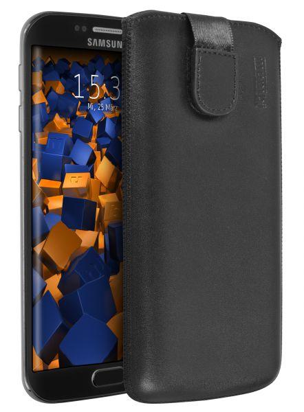Leder Etui Tasche mit Ausziehlasche schwarz für Samsung Galaxy S6 Edge