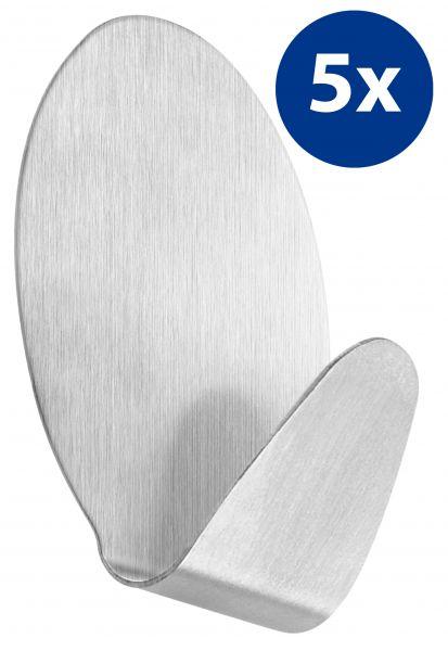 5er Set selbstklebende Handtuchhaken oval aus Edelstahl