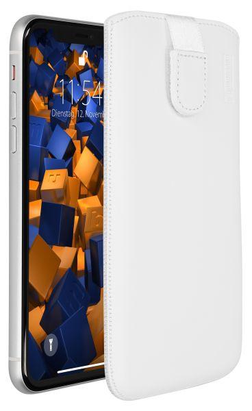 Leder Etui Tasche mit Ausziehlasche weiß für Apple iPhone XR