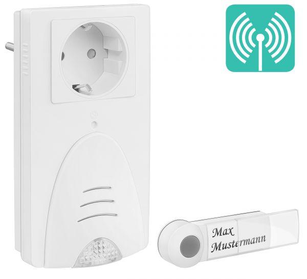 Türklingel (akustisch-optisch) mit Netzstecker und Funk-Klingelknopf in Weiß m-TG103
