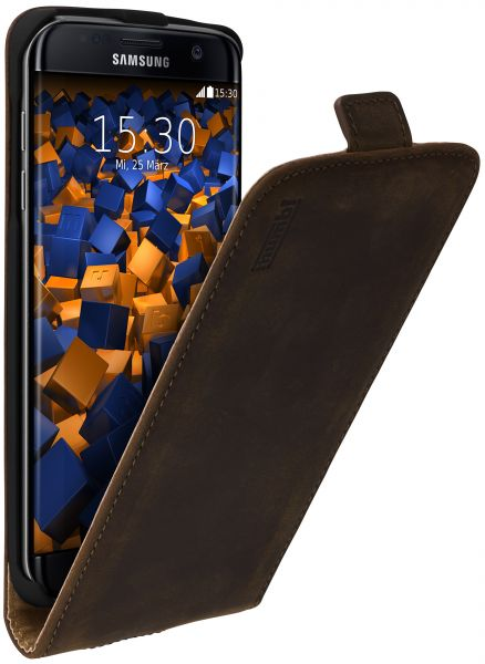 Flip Case Ledertasche braun für Samsung Galaxy S7 Edge