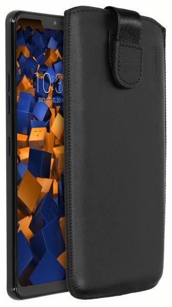 Leder Etui Tasche mit Ausziehlasche schwarz für LG G7 ThinQ