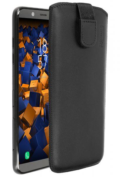 Leder Etui Tasche mit Ausziehlasche schwarz für Samsung Galaxy A6