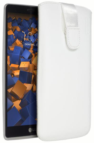 Leder Etui Tasche mit Ausziehlasche weiß für LG G4 Stylus