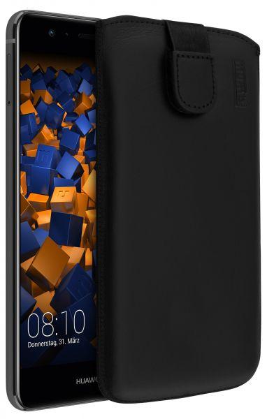 Leder Etui Tasche mit Ausziehlasche schwarz für Huawei P10 Lite