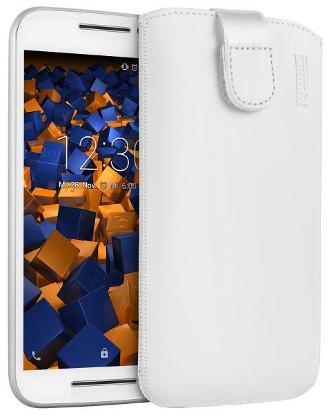 Leder Etui Tasche mit Ausziehlasche weiß für Motorola Moto G 3. Generation
