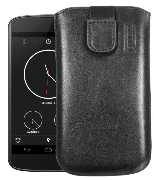 Leder Etui Tasche mit Ausziehlasche schwarz für LG Google Nexus 4
