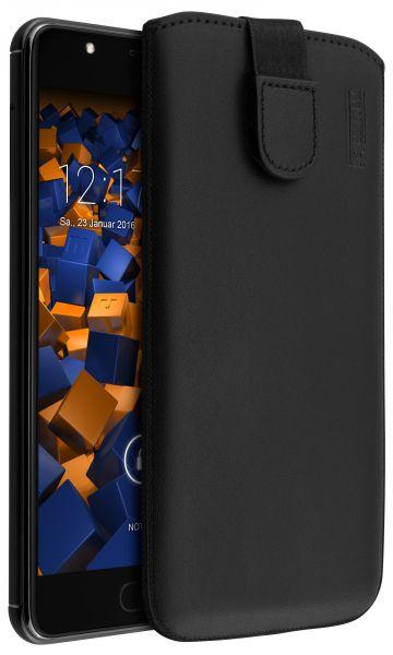 Leder Etui Tasche mit Ausziehlasche schwarz für Wiko U Feel Prime