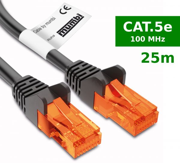 CAT 5e Ethernet Lan Netzwerkkabel 25 Meter Kabel in Schwarz