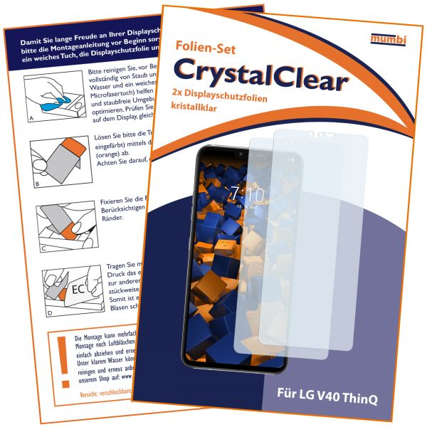 Displayschutzfolie 2 Stck. CrystalClear für LG V40 ThinQ