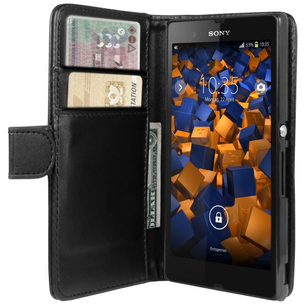 Bookstyle Tasche schwarz für Sony Xperia Z