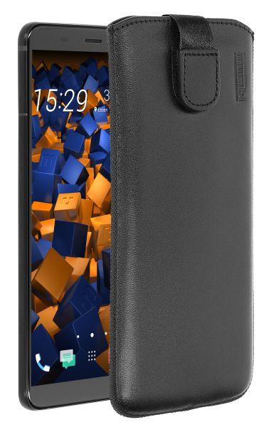 Leder Etui Tasche mit Ausziehlasche schwarz für HTC U11 Plus