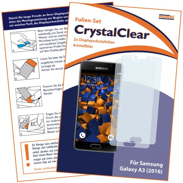 Displayschutzfolie 2 Stck. CrystalClear für Samsung Galaxy A3 (2016)