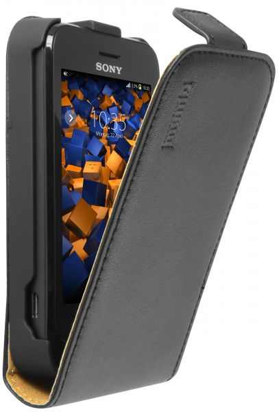 Flip Case Ledertasche schwarz für Sony Xperia Tipo / Tipo DUAL
