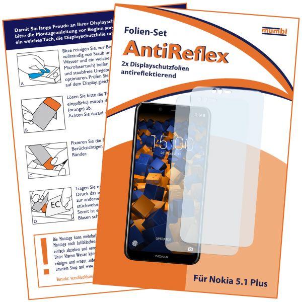 Displayschutzfolie 2 Stck. AntiReflex für Nokia 5.1 Plus