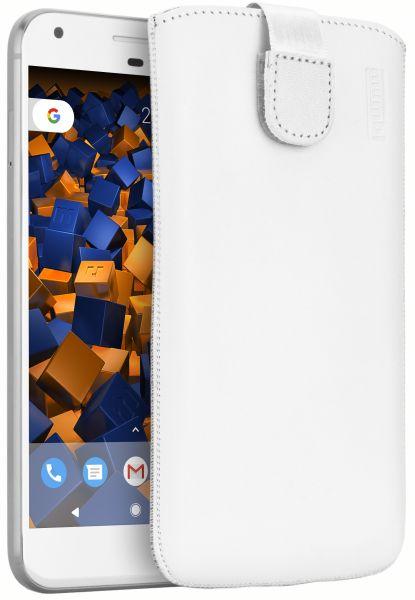 Leder Etui Tasche mit Ausziehlasche weiß für Google Pixel XL
