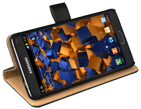 Bookstyle Ledertasche schwarz für Samsung Galaxy Note 4