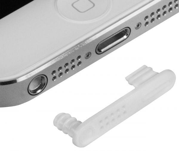 Lightninganschluß Staub und Wasserstöpsel Set weiß für Apple iPhone SE / 5 / 5s / 5c