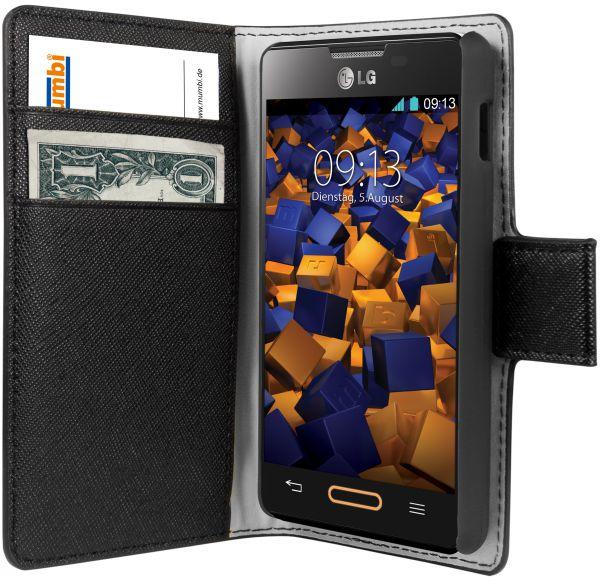 Bookstyle Tasche schwarz für LG E440 Optimus L4 II