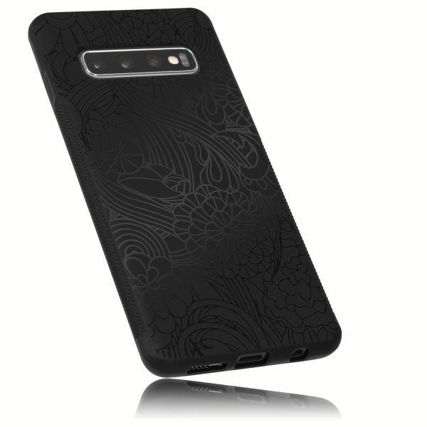 TPU Hülle double GRIP Black Blossom Design schwarz für Samsung Galaxy S10