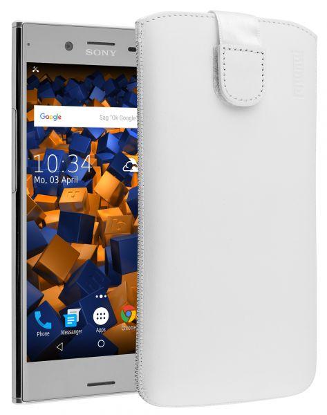 Leder Etui Tasche mit Ausziehlasche weiß für Sony Xperia XZ Premium