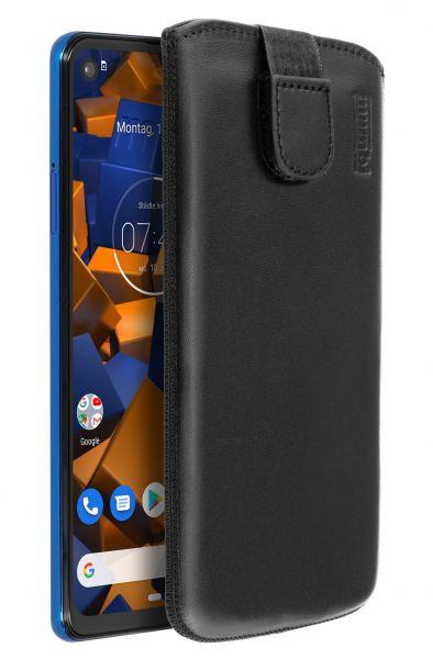 Leder Etui Tasche mit Ausziehlasche Etui schwarz für Motorola One Vision u. Action