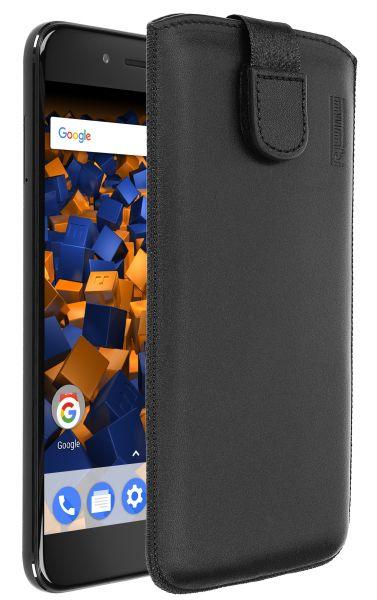 Leder Etui Tasche mit Ausziehlasche schwarz für Xiaomi Mi A1