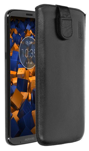 Leder Etui Tasche mit Ausziehlasche schwarz für Motorola Moto Z3 Play
