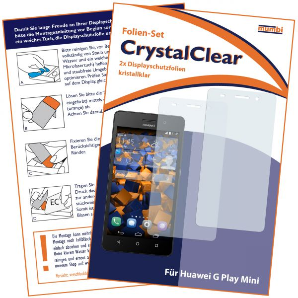 Displayschutzfolie 2 Stck. CrystalClear für Huawei G Play Mini
